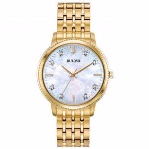 Bulova Women's 34mm Diamond Accent Gold Tone Watch